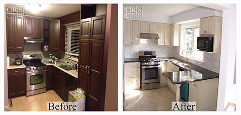 This before & after photo is a recently completed renovation by CRS. The homeowner wanted to brighten up the room and create a more open and inviting space.  If you have an upcoming renovation in mind, give our design studio a call at 1-877-648-7997 to discuss your project and book an in-home evaluation!  #home #renovations #kitchens #bathrooms #basements #granite #cabinets #flooring #backsplash #ancaster #hamilton #burlington #brantford #oakville #stoneycreek #binbrook