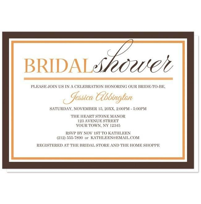 Modern Orange and Brown Autumn Bridal Shower Invitations for your perfect #BridalShower celebration!   #invitations | Autumn inspired Bridal Shower invitations with a modern orange and brown typography design and an orange, brown, and white outline border. You details are printed in orange and brown.