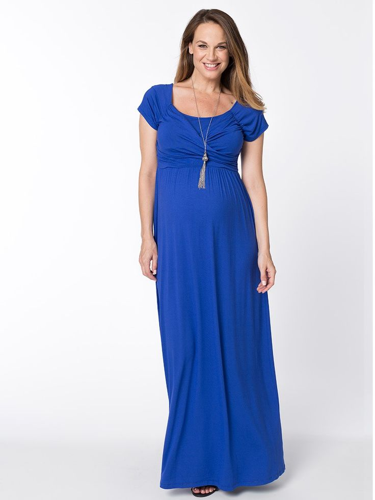 Graceful Maxi Breastfeeding Dress from breastmates.co.nz -- Bright and bold, this relaxed-fit, longer-length maternity maxi dress in vivacious royal blue is comfortable for summer evenings and looks great with just a hint of bling.