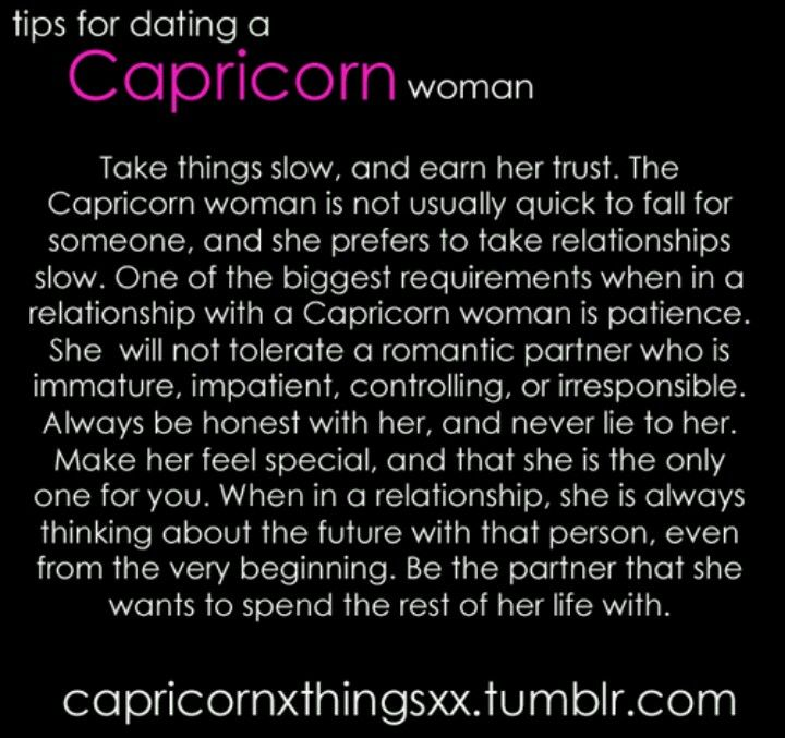 patience dating a capricorn woman Anyone dating a capricorn who is not financially stable, may feel neglected as the capricorn chases his or her dreams if you are patient with the capricorn, however, when things get in order, you will have yourself a strong and solid mate.