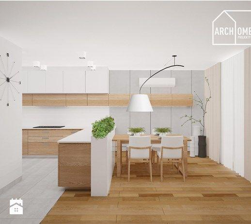 Aranżacje wnętrz - Kuchnia: kuchnia z półwyspem w stylu nowoczesnym - Archomega Biuro Architektoniczne. Przeglądaj, dodawaj i zapisuj najlepsze zdjęcia, pomysły i inspiracje designerskie. W bazie mamy już prawie milion fotografii!