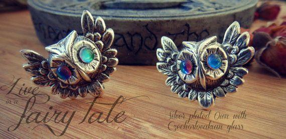 Anello con gufo placcato argento e mini di liveinafairytale