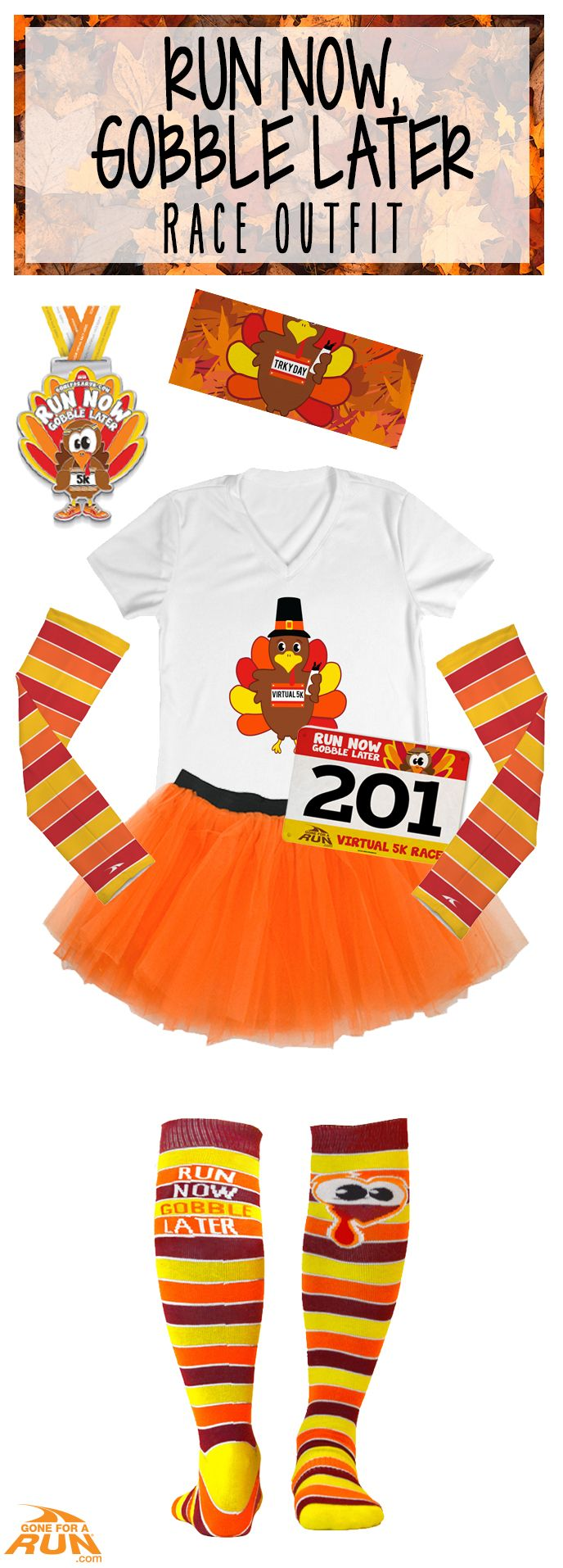 Run off some calories before your #Thanksgiving gobble-fest in our Run Now Gobble Later Virtual #5K! Add some fun elements to your race packet, and make the best Turkey Day running outfit ever!