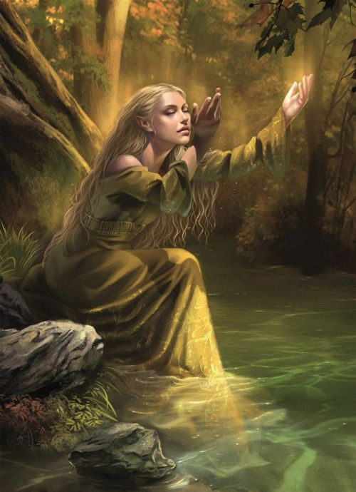 elf-esteem:  Golden Wood SingerA lovely Lórien elf, shining with her own light, wades into a stream and sings in the Golden Wood.(Source: Fantasy Flight Games & Artist: Magali Villeneuve)