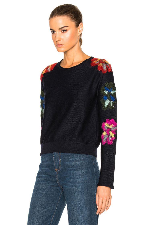 Chloe Flower Detail Sweater in Navy | FWRD