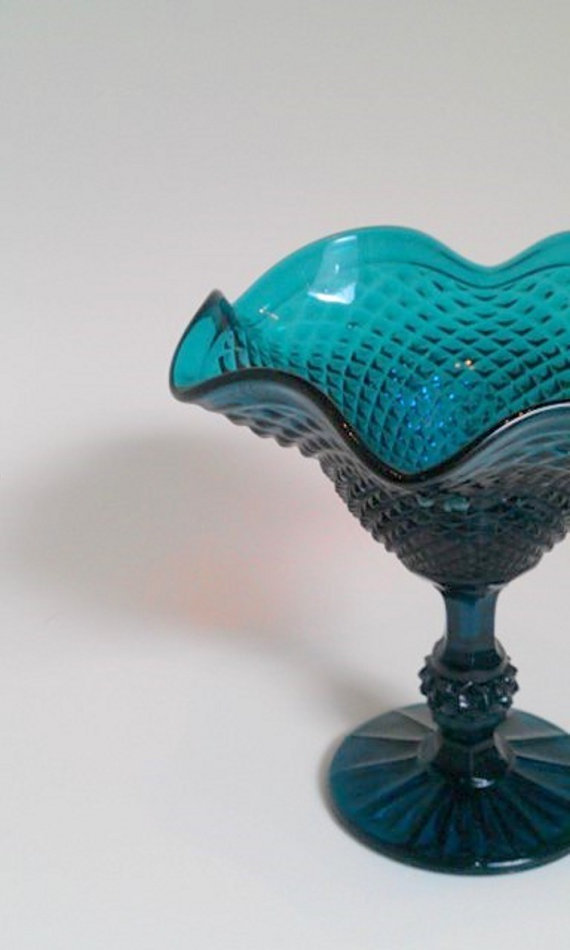 Turquoise Green Carnival Glass Diamond Compote