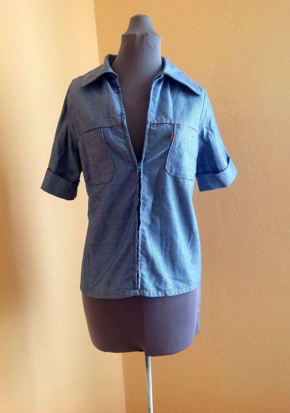 Vintage 50s 60s Levi's Blue Denim Top, large size, short sleeve, women's rockabilly clothes
