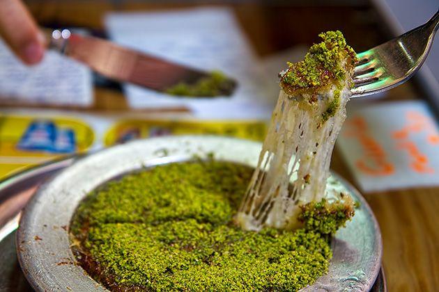 künefe • cheesy, syrupy, pistachio-sprinkled turkish speciality