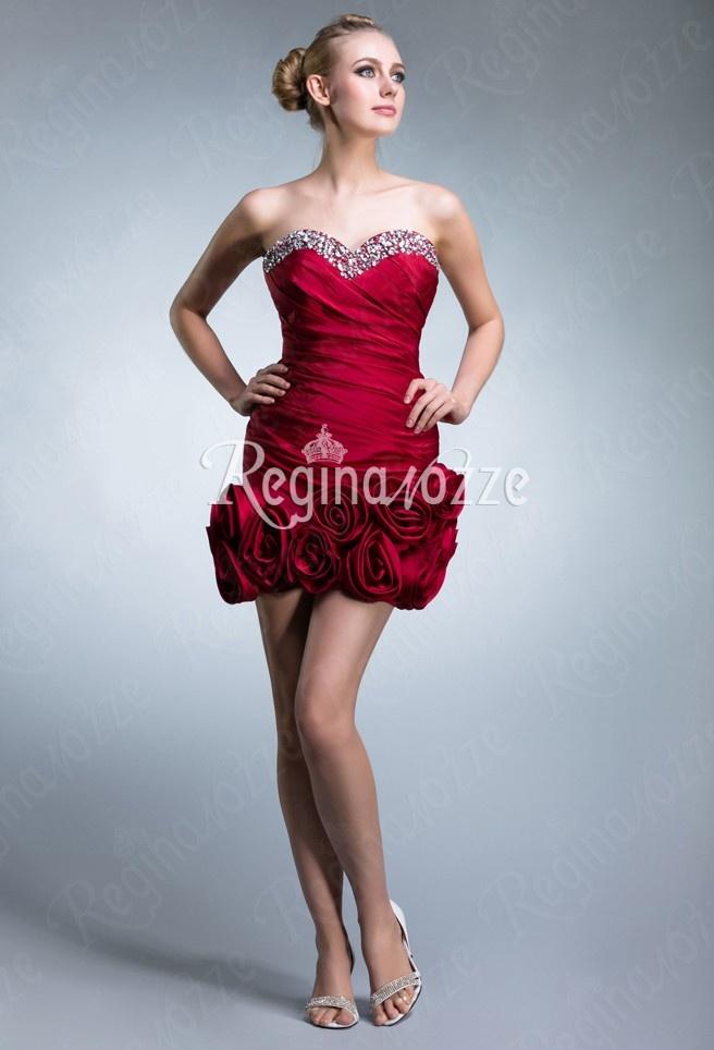 sweetheart short red bridesmaid dress- abiti da damigella corti rosso cuore