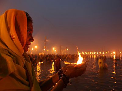 Rishikesh.  Every single night, those who live along the Ganges participate in Ganga Maa Aarti at the same time.