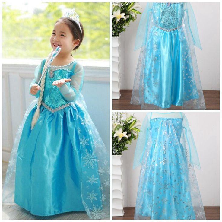Christmas present Frozen princess elsa costume dress girl dresses party gifts Xmas