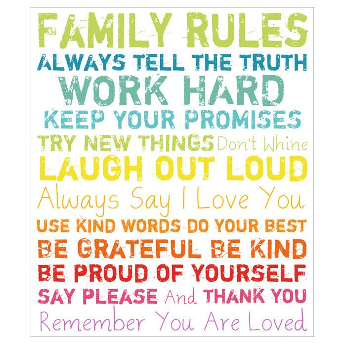 Family Rules Wall Art in Multi
