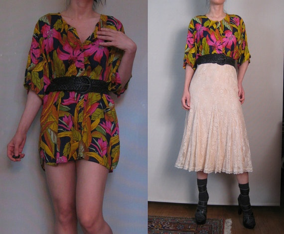 Vintage 80s INDIA Rayon Black Fuchsia Olive ORCHID & by retasroses, $44.00