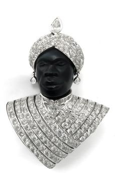 Leopoldo Vettori 9.50ct Diamond Gold Blackamoor Pin | New York Estate Jewelry | Israel Rose