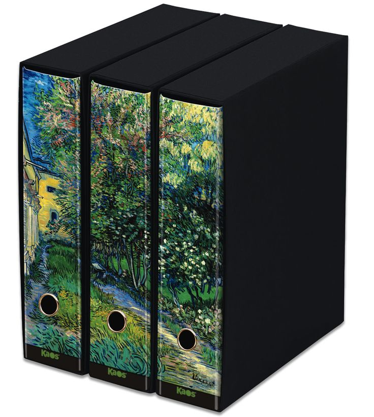 KAOS Lever Arch Files 2ring Binders with slipcase, Spine 8 cm, 3 pcs Set  -GARDEN AT SAINT-RÉMY, VINCENT VAN GOGH - 3 pcs Set Dimensions: 26.8x35x29 cm