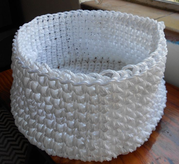 White plastic rope basket, crocheted
