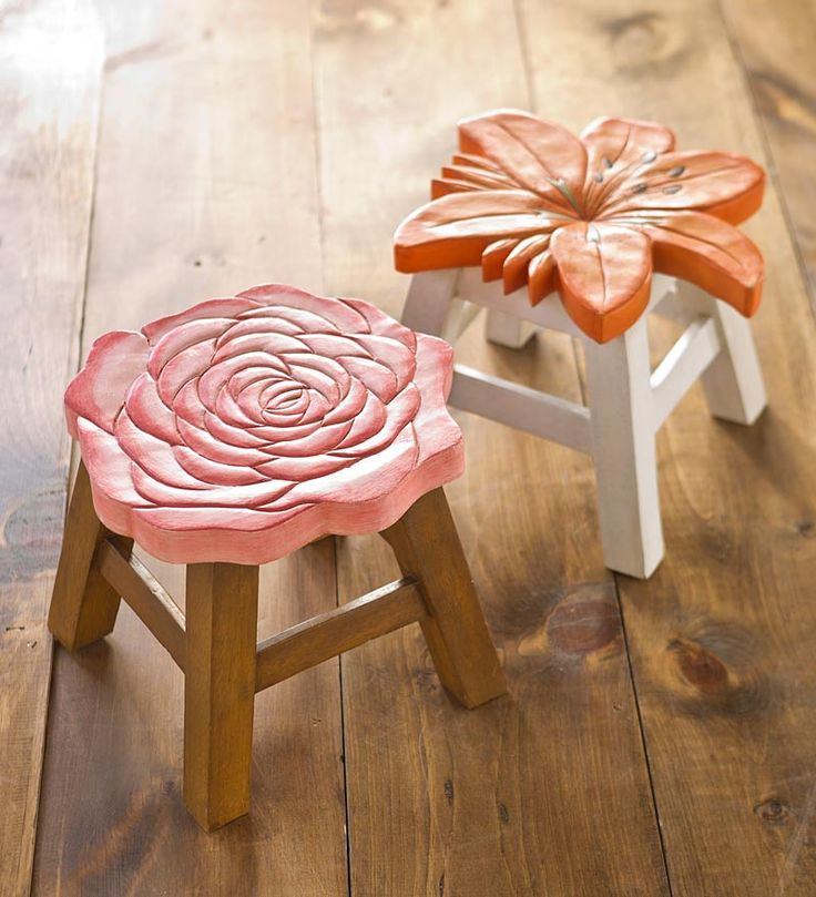 Hand-Carved Wooden Footstools plowhearth.com #bicmarkit