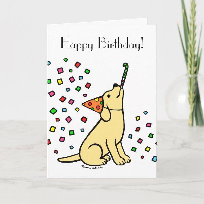 Birthday Yellow Labrador Cartoon Card Zazzle Com Yellow Labrador Cute Dog Cartoon Very Cute Dogs