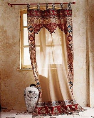 The Curtains Have You Ever Used Patterned Curtains These Are Beautiful What A Good Idea To Transform Boring Rectangular Windows