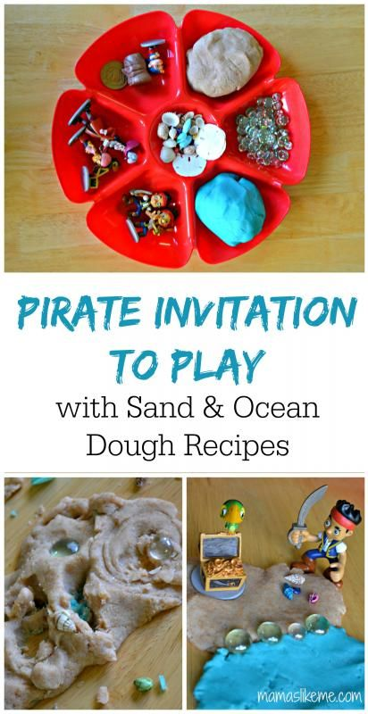 Pirate Invitation to Play - includes play dough recipes for sand and ocean dough!  #pirates #playdough #preschool