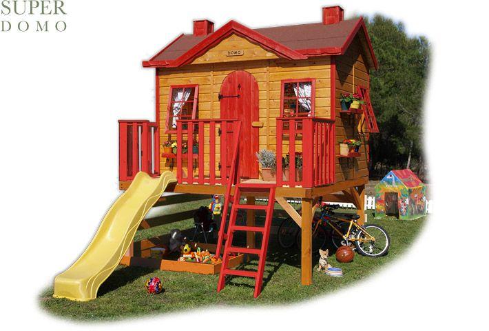 Casita de madera infantil con tobogán elevada modelo SUPER DOMO playhouse,,,,  XXL dreams come true!!!