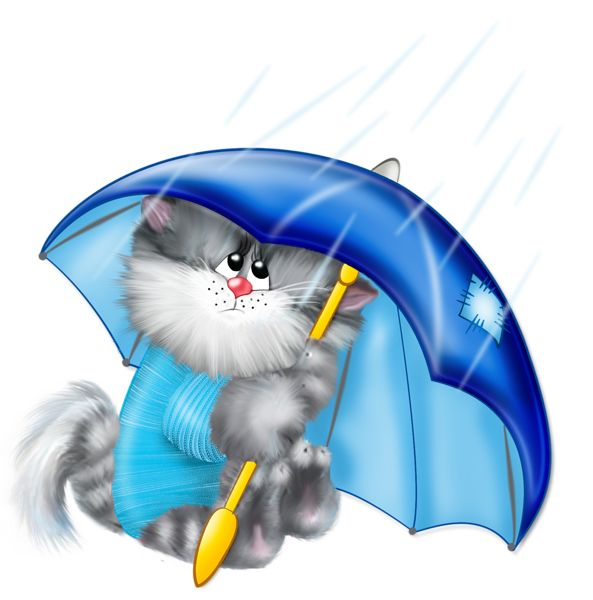 Image result for cat in rain clipart