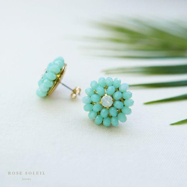 Rose Soleil Jewelry Tropical Sky Collection | ローズソレイユジュエリー ✧ グラスクリスタルピアス  ✧  トロピカルスカイコレクション