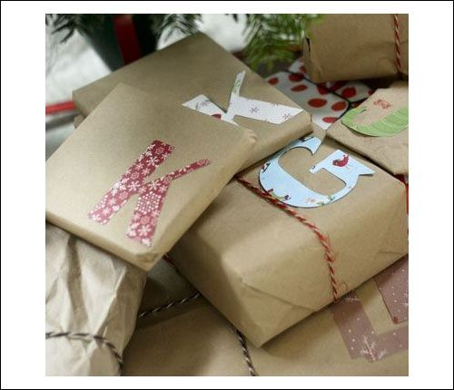 wrapping ideas christmas craft paper initial | Christmas Wrapping Ideas for Homemade Christmas Gift wrap