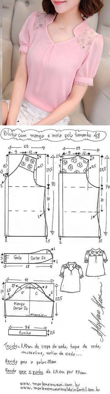 DIY – molde, corte e costura – Marlene Mukai. Blusa manga fofa e meia gola. Esquema de modelagem do 36 ao 56.