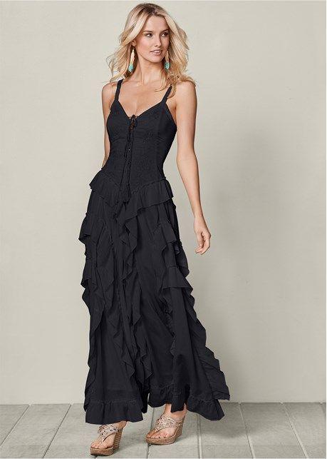 67915bb8e6 Lace up ruffle maxi dress