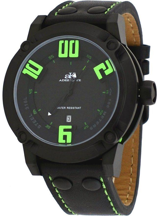 Adee Kaye AK7281-MIPB/GN Men's Watch 3D Layer Black/Green Dial Black Leather Strap