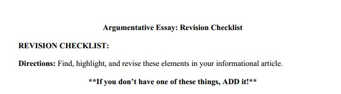 Argumentative essay revision checklist
