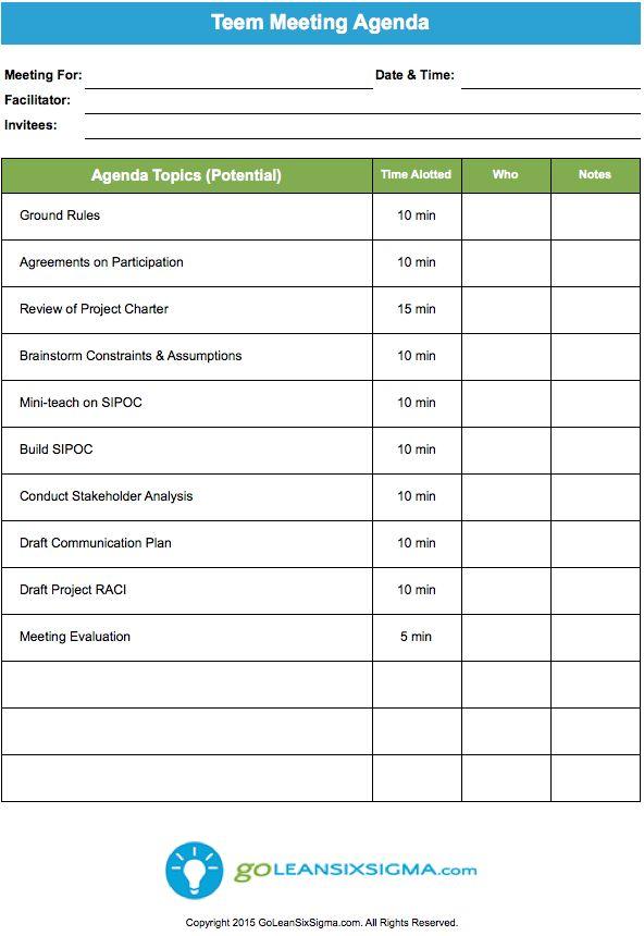 Team Meeting Agenda  Lean Six Sigma Templates  Team meeting agenda Meeting agenda template