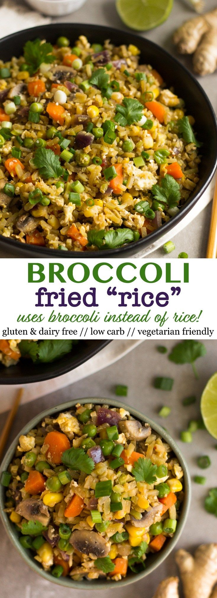 Packed with veggies, this Healthy Broccoli Fried Rice is made from broccoli instead of rice! You only need 15 minutes and it makes a delicious low carb alternative that is gluten free, dairy free, and vegetarian friendly - Eat the Gains #friedrice #glutenfree #vegetarian