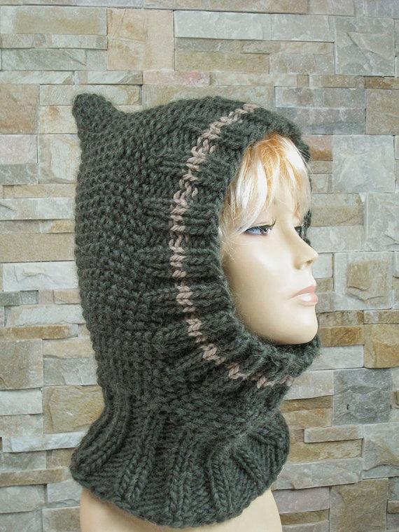 Hand Knit Hat Womens Hat Cowl Hat  Winter Fashion by easycrochet, $45.00