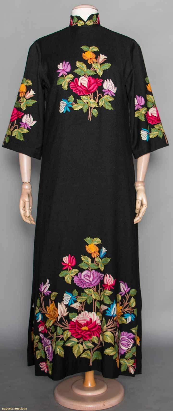 Wool Export Dress, Kashmir, Mid 20th C, for upcoming auction. Embroidery ...