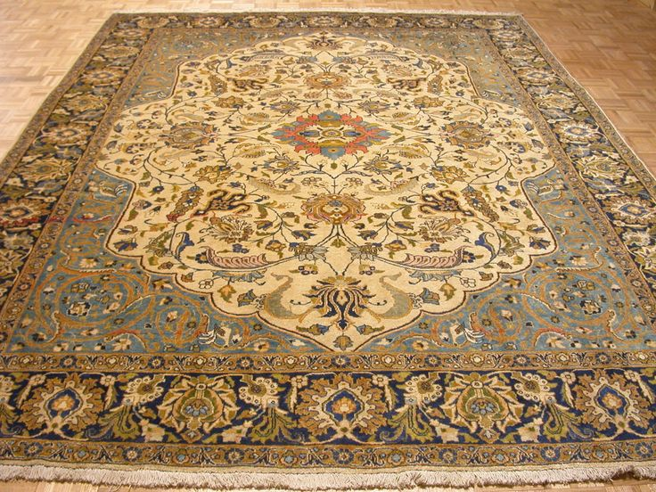 9x13 Antique Persian Oriental Tabriz Hand Knotted Ivory Wool Rug Carpet