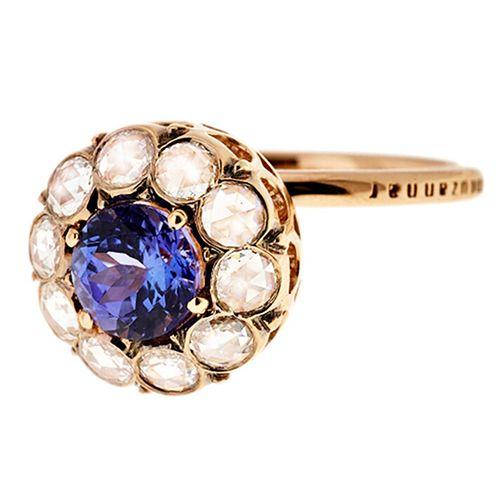 Selim Mouzannar Large Diamond and Tanzanite Ring