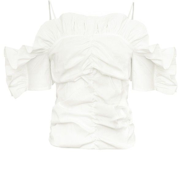 Brie Linen Ruffled Strappy Top -15% OFF ($112) ❤ liked on Polyvore featuring tops, flounce tops, frilly tops, white strappy top, white frilly top and ruched top