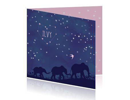 Origineel en prachtig geboortekaartje in space en silhouet thema, met olifantjes voor een meisje.
