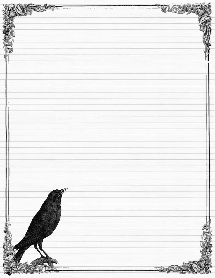Sweetly Scrapped: ~Free~ Stationary With Crows And Roses, Variety Of Colors  Mais  Free Printable Lined Stationary