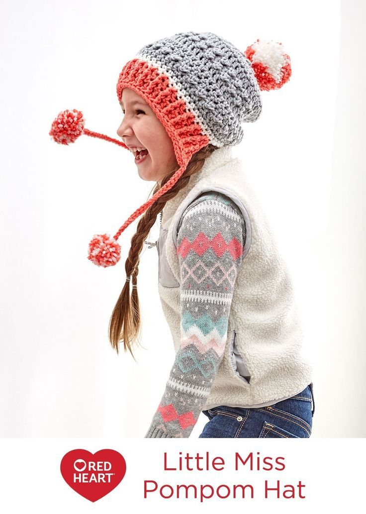 Little Miss Pompom Hat Free Crochet Pattern in Red Heart Yarns -- Crochet a hat that is as warm and comfy as it is fun to wear! We used three shades of Baby Hugs yarn to give you confidence that you are using the best tested yarn for your child. Pattern is written for child and teen-adult sizes.