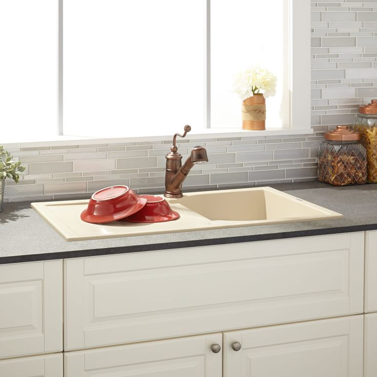 "34""+Allardt+Drop-In+Granite+Composite+Sink+with+Drainboard+-+Beige"