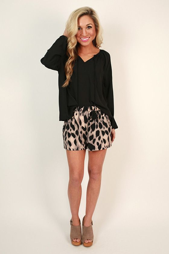 Show your wild side in these fierce shorts! Paired with a tee and wedges, you'll be rocking an outfit fit for a queen!
