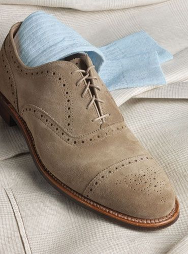Perfect for Spring! This cap toe semi-brogue in tan suede from Alden is a handsome complement to any wardrobe.