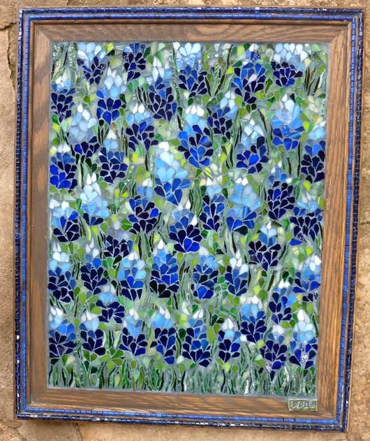 """Texas Bluebonnets - I love the Bluebonnets here in the Spring and I do a lot of Bluebonnet windows.  This Texas Bluebonnets picture is 11"""" x 14"""" and is made from stained glass with blue glass beads inlaid in the frame."""