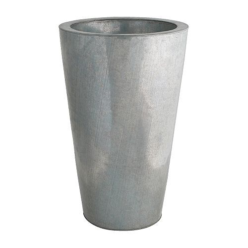 "$34.99 Galvanized planter    Outside diameter: 15 ""  Max. diameter inner pot: 12 ½ ""  Height: 23 ½ """
