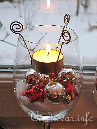 Tealight Candle Glasses - LOVE the tea-light holders! Totally DIY-able and contents can be customized for any season or occassion. See site for ideas on how to do both!