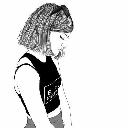 fille, dessiné, grunge, Tumblr