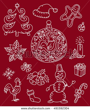 Assorted Christmas Icons doodle vector